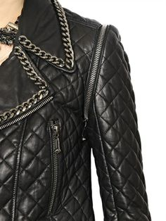 EMBELLISHED QUILTED NAPPA LEATHER JACKET
