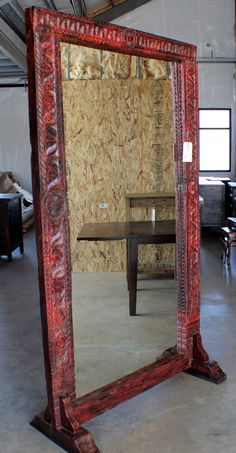tall vintage red stand alone mirror Mirror Jewellery Cabinet, Mirror Mirror, Mirrors, Countertops, Oversized Mirror, Hand Carved, Carving, Glass, Wall