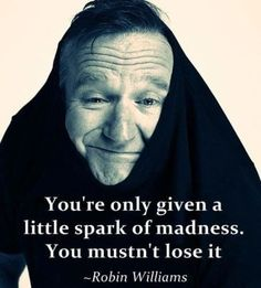 """You're only given a little spark of madness. You mustn't lose it"" ~Robin Williams (1951-2014) (@LittleBearProd)"