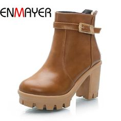 62.28$  Watch now - http://alii2e.worldwells.pw/go.php?t=32497221610 - ENMAYER Women Boots Shoes New Big Size34-43 Round Toe Zip Square heel High Boots For Women Winter Soft Leather Platform Ankle