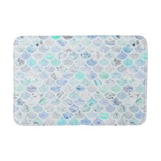 Chic Blue and Aqua Mermaid Scallops Patterned Bathroom Mat - chic design idea diy elegant beautiful stylish modern exclusive trendy