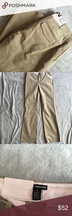 NWT Club Monaco Corduroy Khaki Ursula Pants Brand new, never worn. Ursula Pant by Club Monaco in khaki corduroy. Such a wardrobe staple, perfect to pair with casual & dressy tops. Low rise, fitted through waist and hips. Boot leg. Side pockets. Back and front pocket flap details. Size 2, see photos for measurements. Club Monaco Pants Boot Cut & Flare