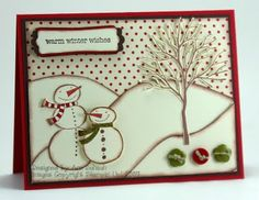 Old Stamping Up Stamps. Such a fun background for a #SnowfamilyCard. First snow of the year.