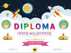 Editable diplomas certificates graduation invitations first grade certificate kids diploma yadclub Choice Image
