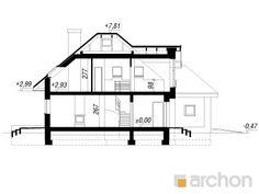 projekt Dom w rukoli (N) przekroj budynku