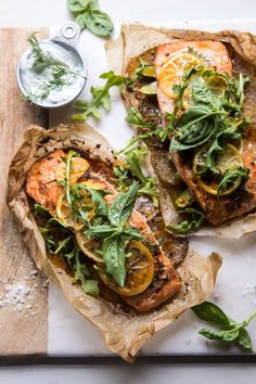overhead photo of Parchment Baked Lemon Salmon and Potatoes with Dill Yogurt