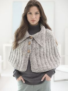 Knit this easy Quick Knit Capelet with our featured yarn! Free pattern calls for 4 balls of Wool-Ease Thick & Quick in Grey Marble and size 13 36 inch circular knitting needles. Capelet Knitting Pattern, Knitted Capelet, Loom Knitting, Crochet Shawl, Knitting Patterns Free, Knit Patterns, Free Knitting, Clothing Patterns, Knit Crochet