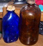 Cobalt blue Phillips and amber chemical bottle