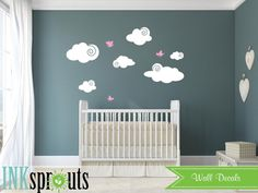 Cute Clouds with birds Cloud decal Sunshine you are by InkSprouts
