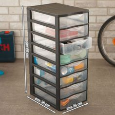 sundis tour de rangement orgamix a4 mm 12 tiroirs noir. Black Bedroom Furniture Sets. Home Design Ideas
