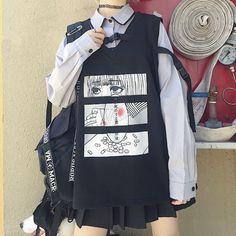 Color classification: shirt + vest, shirt, vestSize: S, MvestS: Length Bust Shoulder Length Bust Shoulder Length 64 / Bust Shoulder Sleeve length Length 66 / Bust 106 cm, Shoulder Sleeve length Tips: = color&amp Edgy Outfits, Anime Outfits, Mode Outfits, Grunge Outfits, Batman Outfits, Egirl Fashion, Ulzzang Fashion, Kawaii Fashion, Fashion Outfits