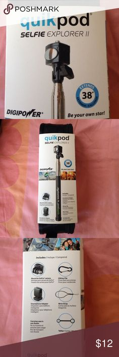 """Selfie stick Brand new , never used quikpod by Digipower selfie stick. Comes in a carrying bag, extends to 38"""". Can be used with GoPro or smartphone. Digipower Accessories"""