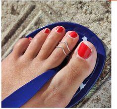Hot Retro Unique Fashion Silver Ring Foot Symmetrical Beach Sandal Adjustable #Handmade