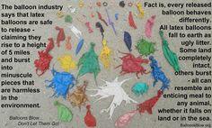 Latex balloons. Litter that kills wildlife. Make a change.