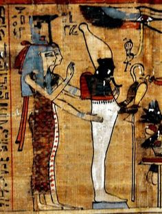 Isis and Nephtys in a Paprus from Turin. Ancient Egypt.