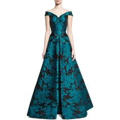 Zac Posen Off-the-Shoulder Floral Jacquard Gown ($7,990) ❤ liked on Polyvore featuring dresses, gowns, teal, blue evening dresses, off shoulder dress, off the shoulder dress, a line dress and blue evening gown