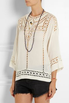 Étoile Isabel Marant Ethan cutout embroidered georgette top NET-A-PORTER.COM Isabel Marant, Cute Tops, My Wardrobe, Everyday Fashion, Bell Sleeve Top, Tunic Tops, Style Inspiration, My Style, How To Wear