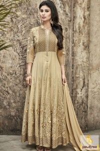 Fancy Celebrity Style Designer Beige Color Anarkali Suit #salwarsuit, #mouni roy salwar suit more: http://www.pavitraa.in/catalogs/mouni-roy-special-designer-anarkali-dresses/?utm_source=rn&utm_medium=pinterestpost&utm_campaign=15jun