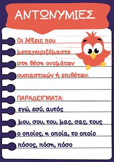 Καρτέλα για τις αντωνυμίες. Elementary Education, Kids Education, Special Education, Greek Language, Speech And Language, Learn Greek, Greek Alphabet, Language Activities, Home Schooling