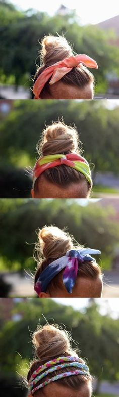 These DIY tie dye headbands are easy to make from t-shirts and look great! Both kids and adults will love this summer fashion craft. via @diy_candy