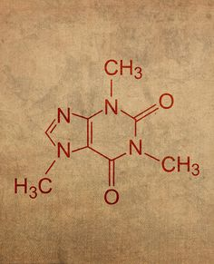 Caffeine Molecule Coffee Fanatic Art Poster