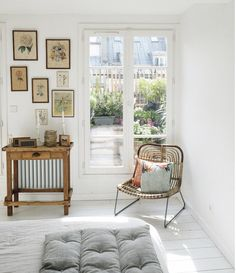 Old Meets New In A Charming Paris Home / Zoe de La Cases apartment bedroom with white floors, vintage finds and a balcony. Bedroom Apartment, Bedroom Decor, Cozy Bedroom, Studio Apartment, Parisian Bedroom, Scandinavian Home, Small Apartments, Home Decor Styles, Interior Design Inspiration