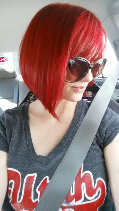 Recently went and did my hair. Let's just say I'm a blazing red head now... #red #hair #redhair #shorthair #bobs #aline