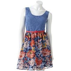 Lily Rose Mixed-Media Floral Dress - Juniors