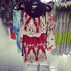Bold patterned dress! Great with a cardigan and scarf this fall!