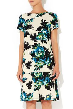 Blue Floral Print Crepe Dress