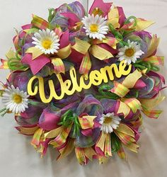 Spring Welcome Wreath ***Ready To Ship Wreath***Spring Welcome Wreath, Front Door Wreath, Spring Décor, Deco Mesh Wreath, Summer Welcome Wreath, Daisy Wreath, Yellow Wreath This spring Welcome Wreath will definitely show up on your front door to welcome your guests! This wreath