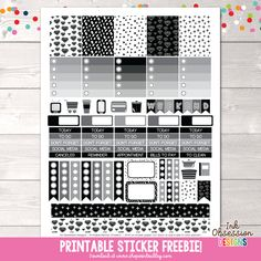 Free Black and White Printable Planner Stickers Weekly Kit