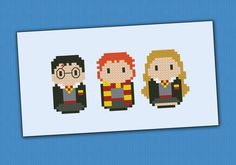 This is a parody, an inspirational cross stitch pattern of the movie series Harry Potter, featuring Harry, Ron and Hermione    Crazy for Harry