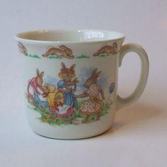 Royal Doulton China Bunnykins 1 Handle Hug A Mug Play with Doll and Pram  #RoyalDoultonFineBoneChinaEngland