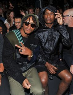 #AsapRocky sips champagne with @LupeFiasco, front row at Y-3 #NYFW show.