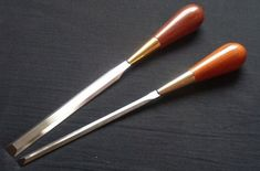 """Custom made Paring chisels. They are completely hand made by Wilco Flier, except for the hardening.  Overall length is 320mm (12.5"""") and the length of the steel part is 180mm (7""""). The steel is O1, hand grind to the rigth shape, heat treated by a professional heat treatment company and sharpened at a 25 degree angle. The wood is Curacao de Negro, a lesser know wood from tropical South America. Heat Treating, Woodworking, Degree Angle, South America, Tableware, Tropical, Shape, Steel, Dinnerware"""