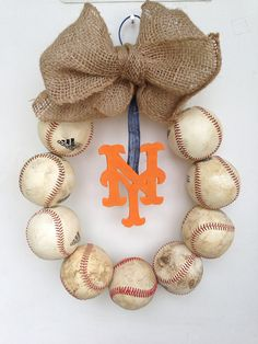 New York Mets Burlap Baseball Wreath by HartFilledDesigns on Etsy