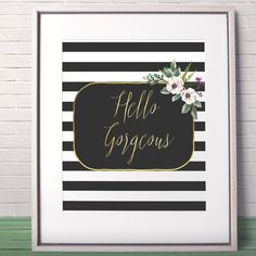 Hello Gorgeous printable Best friend gift Black and by AlniPrints Love wall art Love printable art Love quote Love by AlniPrints #romantic #Valentine #day #print #large #quote #love #DIY #handmade #printable #wife #boyfriend #girlfriend #quote #card #husband #for #her #him #unique #Valentines #idea