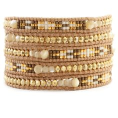 Chan Luu - Natural Mother of Pearl Mix Wrap Bracelet on Beige Leather, $245.00 (http://www.chanluu.com/natural-mother-of-pearl-mix-wrap-bracelet-on-beige-leather/)