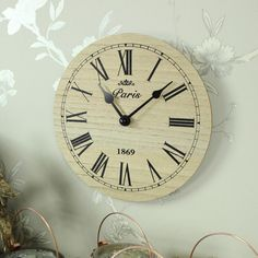 small wooden black wall clock Paris vintage chic kitchen office | eBay