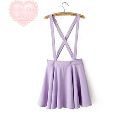 Popular Kawaii Pastel Suspender Skirt from Sweet Soul Shop (325 ARS) ❤ liked on Polyvore featuring skirts, bottoms, kawaii, purple, purple skirt and pastel skirt