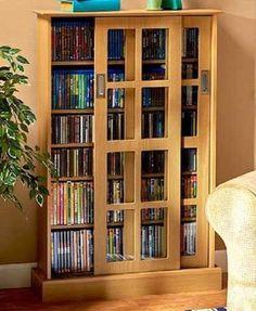 "Cabinet Media Storage 49"" Sliding Doors Wood & Glass Organize CD's DVD's Games"