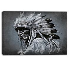 """DesignArt American Indian Tattoo Portrait Graphic Art on Wrapped Canvas Size: 30"""" H x 40"""" W"""