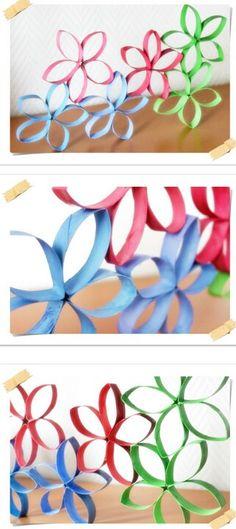 Blumen aus Klorollen