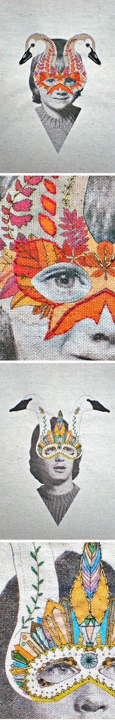 Artist: Laura McKellar ~ Artist resides in Australia ~ These two pieces {embroidery & digital print on fabric} are based on The Ugly Duckling by Hans Christian Anderson.
