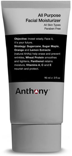 Anthony All Purpose Facial Moisturizer is a lightweight, non-greasy formula that absorbs quickly to moisturize and nourish skin. This moisturizer helps firm skin and minimize the appearance of fine lines. Sugarcane, sugar maple, orange, and lemon extracts (natural AHAs) help erase and prevent wrinkles. Good for all skin types, especially normal to dry.