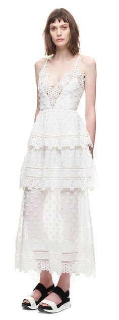 ivy lace trim midi dress in white