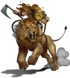 A dwarf riding a lion? Yeah, sign me up. Though it must be a dire lion, 'cos D&D style dwarves aren't really that small...