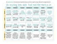 Bi-Weekly Whole Food Meal Plan for March 16–29