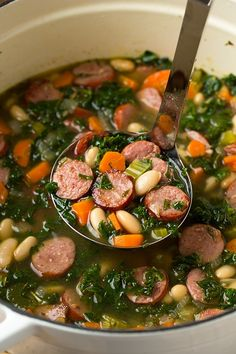 Kale White Bean and Sausage Soup | Cooking Classy